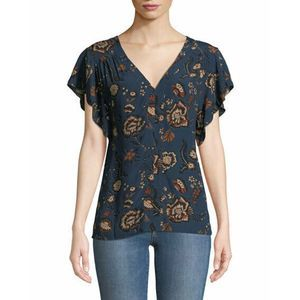 SANCTUARY Floral Countryside Shell Ruffle Top